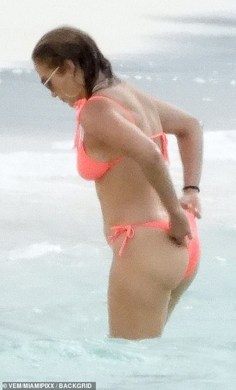 Fashion: Her bathing suit was tied together in bows on her hips
