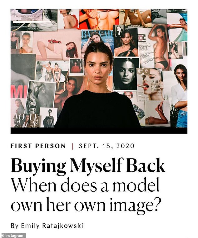 Coming clean: Palmer shared a photo of Ratajkowski's essay for The Cut, revealing she was the 'crazy actress' referenced in the piece