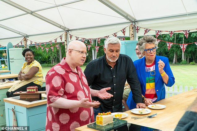 Giggles: The Channel 4 baking contest, now in its 11th series, will welcome 12 home-bakers to the tent with the first show-stopping challenge to create their hero out of sponge (pictured presenter Matt Lucas with judges Paul Hollywood and Prue Leith)