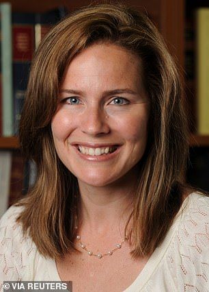 Judge Amy Coney Barrett (pictured) has emerged as  Trump's top choice to replace Ginsburg