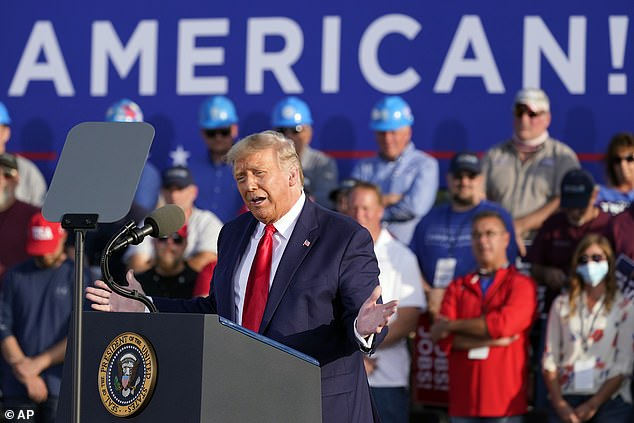 President Donald Trump campaigned in Ohio Monday night, telling a crowd in Vandalia that he didn't want to lose to the 'worst presidential candidate in history,' Democrat Joe Biden