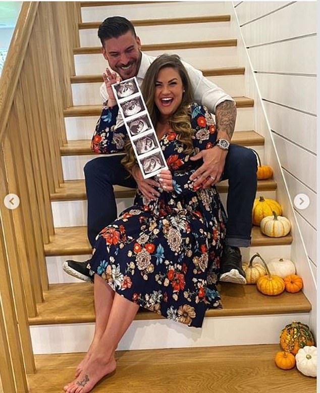 Brittany took to Instagram on Monday to share the happy news, posting a photo of the couple sitting together at home showing off the ultrasound images