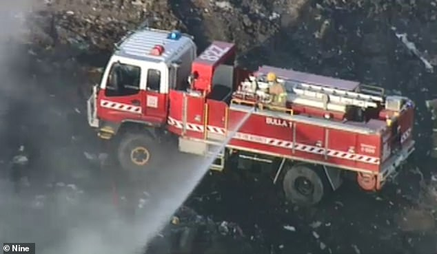 Fire crews were called to the Bulla rubbish dump on Sunbury Road, Bulla in the state's northwest at 6.15am on Tuesday
