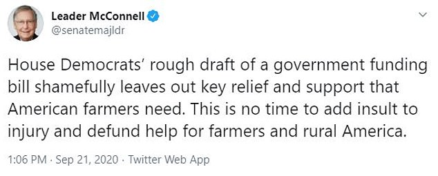 Pictured: Mitch McConnell said in a tweet on Monday that the House Democrats' draft left out key relief aid for farmers