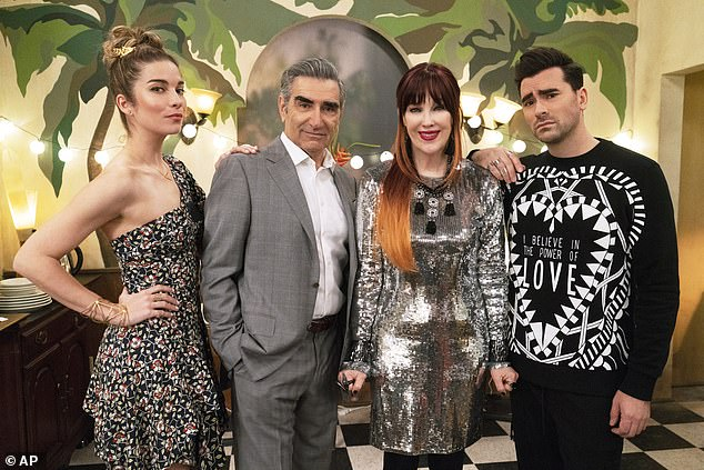 Funny: Creator Daniel Levy stars in the series alongside his father Eugene Levy, Catherine O'Hara and Annie Murphy. Its plot centers on a wealthy family forced to live in a small town motel after losing everything they own, except for their designer clothes.
