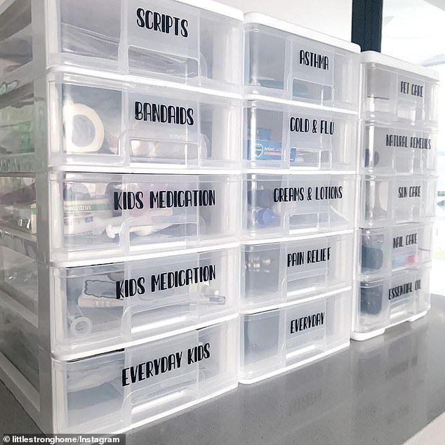 One mother created the ultimate 'medicine cabinet' using the storage boxes with drawers she found from the store. The five drawer cabinet cost $15 each