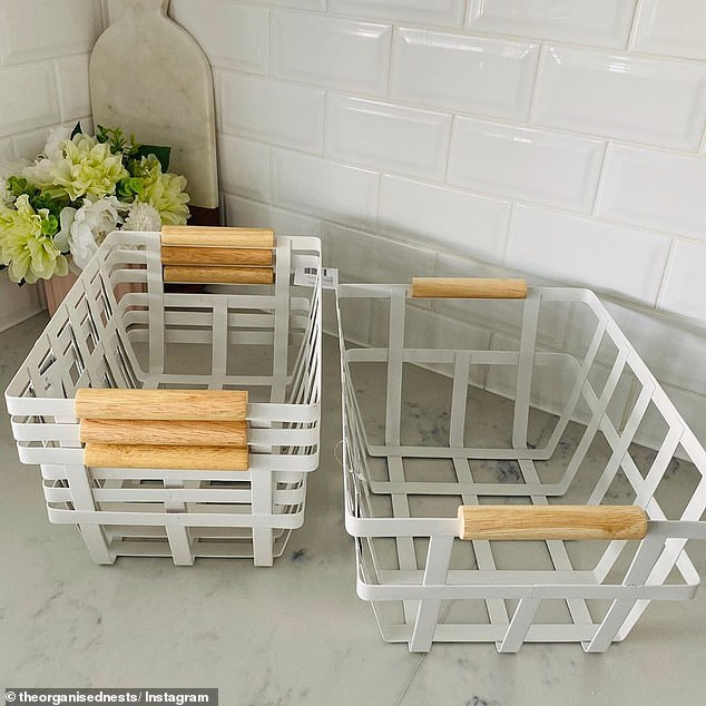 One shopper found these stylish baskets with timber handles from just $10 each