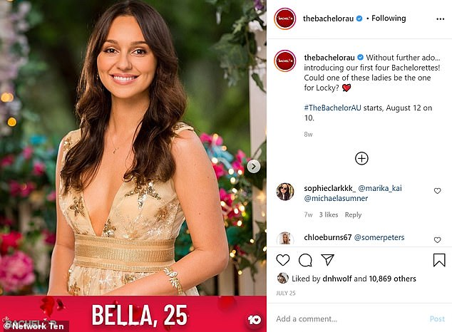 Theory: As a general rule, when a woman is the very first to be introduced to the public - either in trailers or via social media - she ends up being the heartbroken runner-up. On July 25, several weeks before the season premiere, Bella was among four bachelorettes introduced on The Bachelor's official Instagram account (pictured)