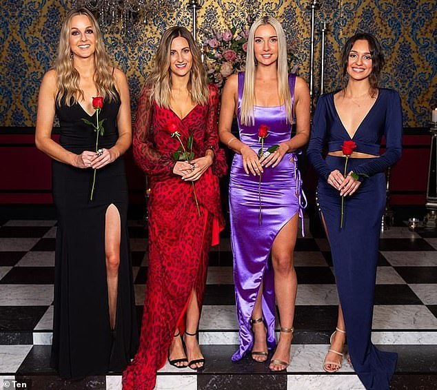 Pattern: Every year, Channel 10 introduces viewers to the contestants one by one or in batches, and the first to be shown usually goes far in the competition - but crucially they never actually win the Bachelor's heart. Pictured: Locky's top four (L-R) Izzy Sharman-Firth, Irena Srbinovska, Bec Cvilikas and Bella Varelis