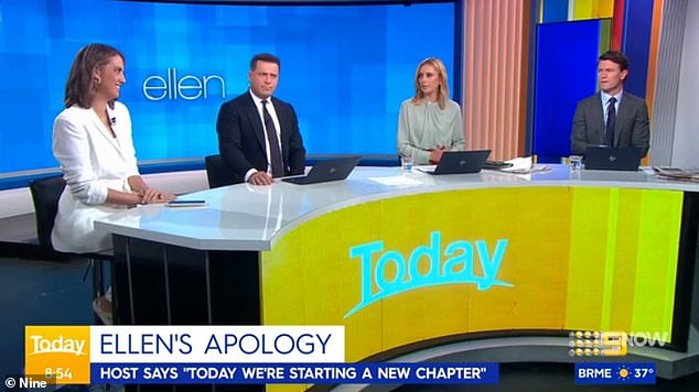Viewpoints:Allison (centre right) lashed out the 62-year-old for the 'weird and uncomfortable' comedic undertones in her five-minute monologue, and Karl (centre left) suggested it was time for her to 'go away and re-establish her connection with the people who matter'. Pictured with Brooke Boney (left) and Alex Cullen (right)