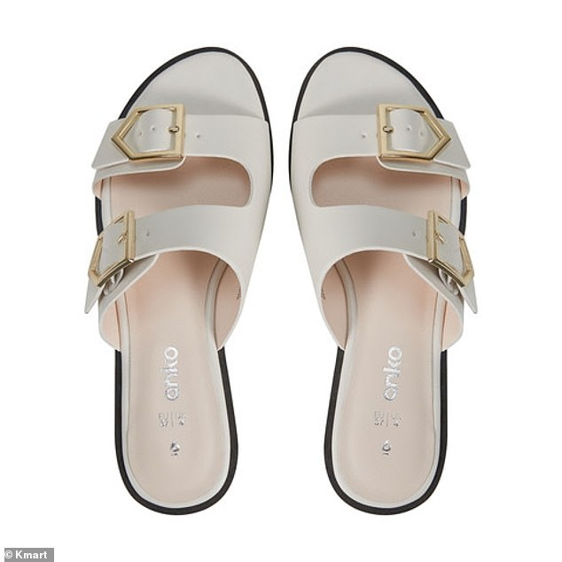 The sandals are also available in white with gold hardware, and come in women's sizes six to 11