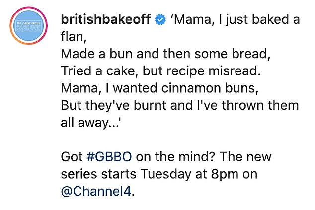 Mama, I just baked a flan! The show's Instagram account also posted the same image on its page alongside a pun-filled caption