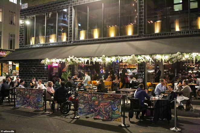 The pub trade (Soho pictured) has reacted furiously that they will bear the brunt of the Government's crackdown and point to Public Health England figures that illustrate a low spread of Covid-19 in hospitality settings