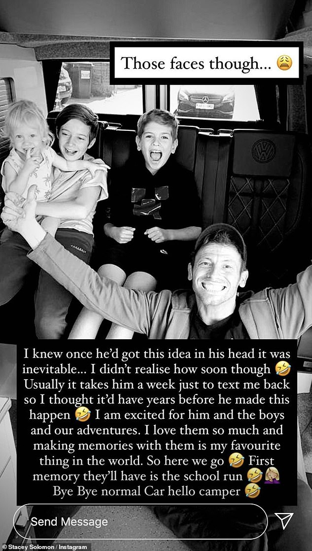 Sweet:Stacey, who is mum to sons Zachary, 12, and Leighton, eight, and Rex, 16 months, with Joe, shared a heartwarming picture of her three boys and Joe in the back of the camper van
