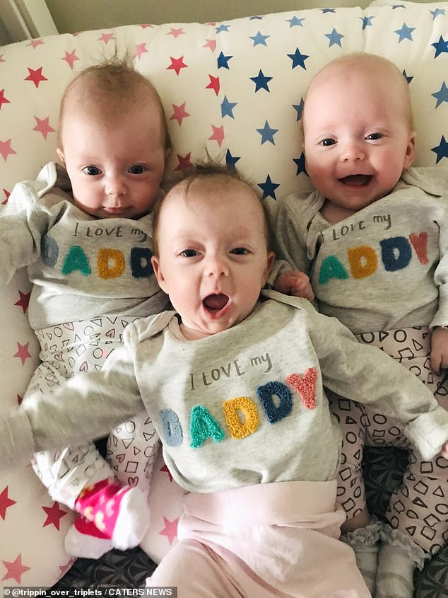 Niamh's dad, Michael Foley, couldn't bare to see his daughter missing out on her dream - and he and Niamh's stepmother, Patricia, a midwife, convinced them to give it one more shot. Pictured, the triplets at home
