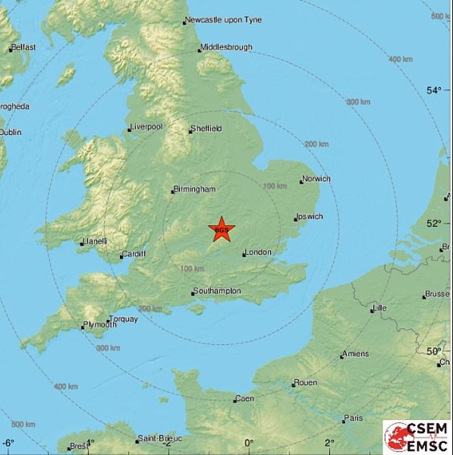 The second Leighton Buzzard quake earlier this month was thought to have been an aftershock from the magnitude 3.5 quake that was felt on September 8. Pictured: A map showing the quake