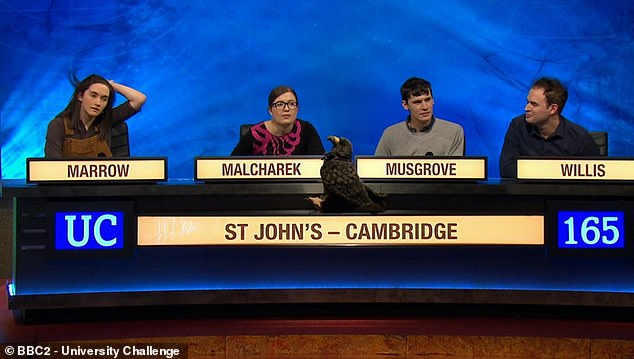 When the tension mounted during the quiz's end Marrow frequently swept her brunette locks from her face - but some viewers said they found the hair-swishing irritating