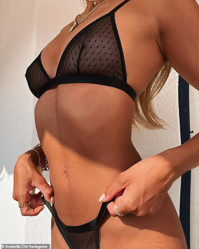 Wow: The former Love Island star looked incredible as she showcased her jaw-dropping figure in a black sheer set
