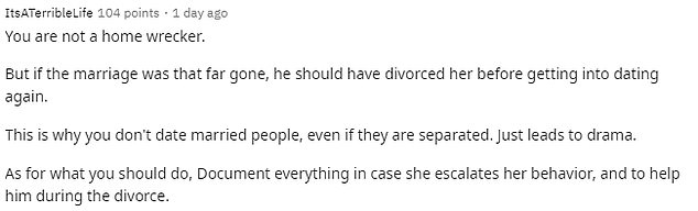 Other responses said the wife should get over the marriage and stop trying to put the blame on the Reddit poster