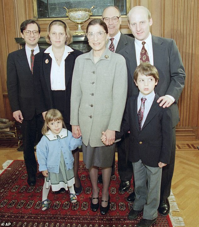 Clara is one of Ginsburg's four grandchildren. Like her grandmother, Clara's parents are also both lawyers. Pictured above with Ginsburg (from left to right) is her son-in-law George Spera, daughter Jane Ginsburg, husband Martin and son James Ginsburg. Clara and her brother Paul are pictured at the front