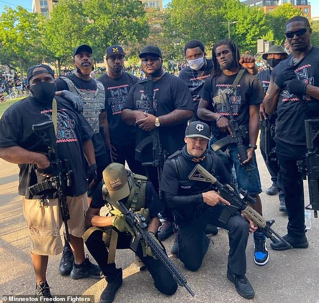 About two dozen black men answered the call for help in protecting the businesses. They patrol carrying AR-15s and Glocks and wearing tactical vests and bandannas