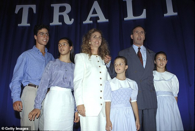 Former first family: Paul Keating shared four children with his former wife Annita van Iersel, including son Patrick and daughters Caroline, Katherine and Alexandra. Pictured together in 1993