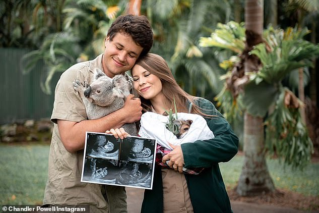 Baby on the way: They also shared their baby's first sonogram with their followers on Instagram while cuddling a wallaby joey and koala at Australia Zoo