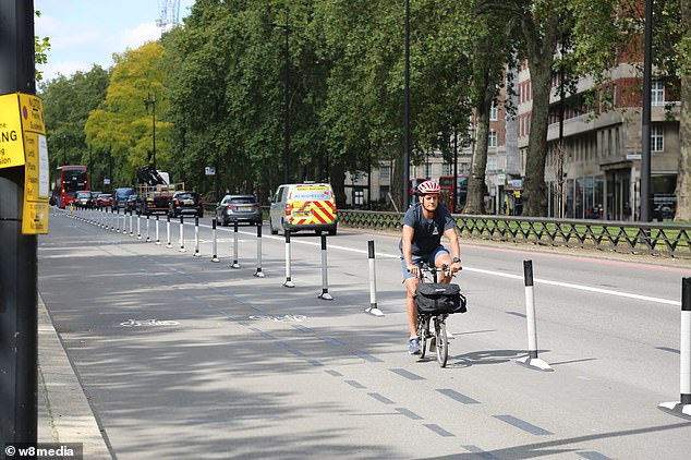 A lone cyclist travels along a bike lane on Park Lane in London's exclusive Mayfair district at 2.30pm earlier this month
