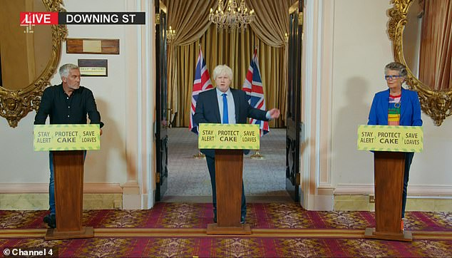 'Stay Alert, Protect Cake, Save Loaves': The comedian, 46, who has replaced Sandi Toksvig as host, was a spitting image for the Prime Minister as he recreated a spoof press conference