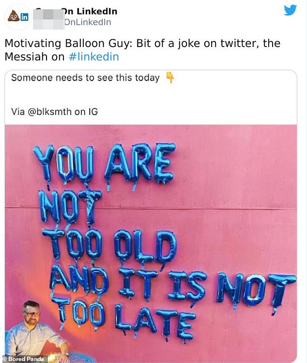 Great advice! This user shared a motivational quote, made from balloons and insisted that employees 'needed' to see the message today
