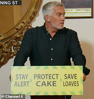 Experts: Matt said he was going to hand over the query to the 'experts'- a spoof of Professor Chris Whitty and Sir Patrick Valance- Prue Whitty (Prue Leith) and Professor Paul Hollywood