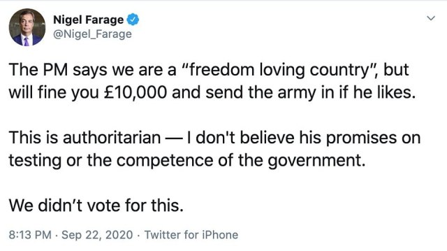 Responding to the Prime Minister's address, Brexit Party leader Nigel Farage blasted Mr Johnson's 'authoritarian' response to the coronavirus crisis