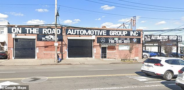 The exterior of On The Road Automotive is seen above in the Eastchester neighborhood of the Bronx. Investigators believe Monday's shooting may have been gang-related