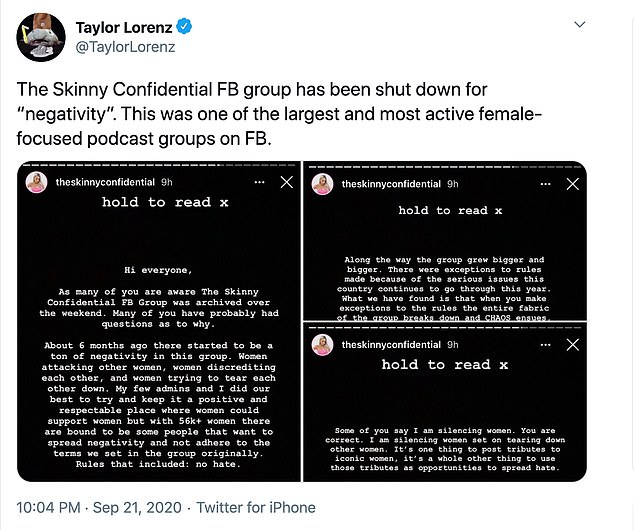 News: New York Times technology reporter Taylor Lorenz tweeted about The Skinny Confidential Facebook group being shut down on Monday