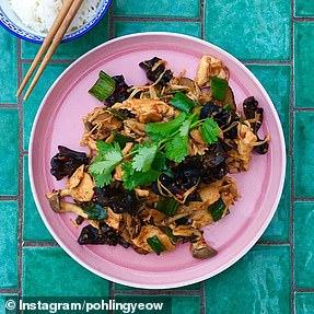 Chicken and Asian mushroom stir-fry