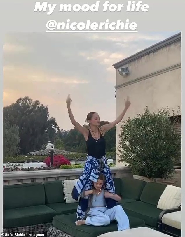 Rocking out: On Monday, Sofia met up with her older sister Nicole Richie to celebrate her 39th birthday and shared a hilarious video of her dancing and pumping her fists