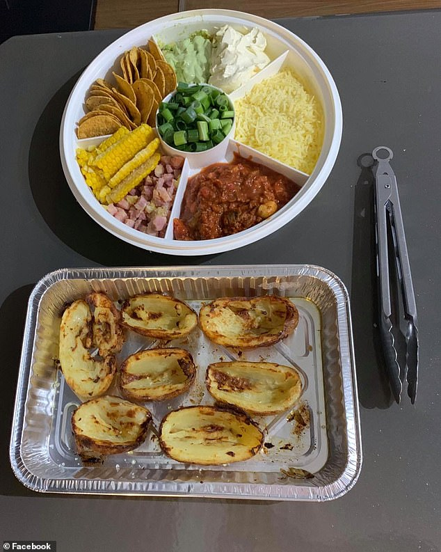 In the photo fellow group members could see the crispy potatoes steaming from the oven and a miscellaneous plate of toppings, including the beef bolognese with tomato sauce