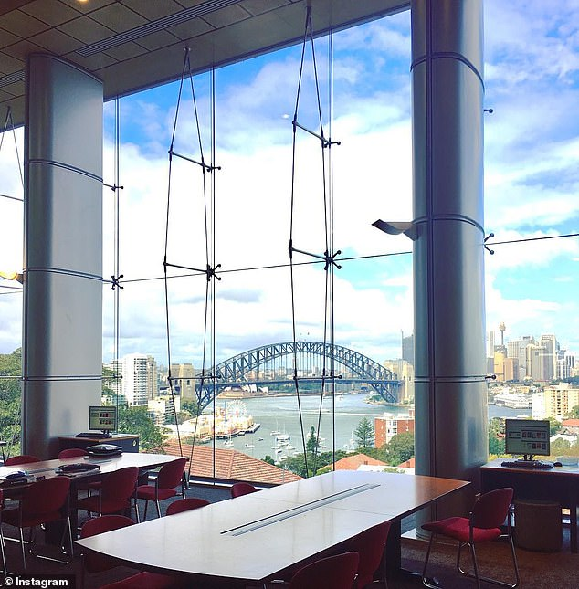 The school's library features uninterrupted views over the Sydney Harbour Bridge (pictured)