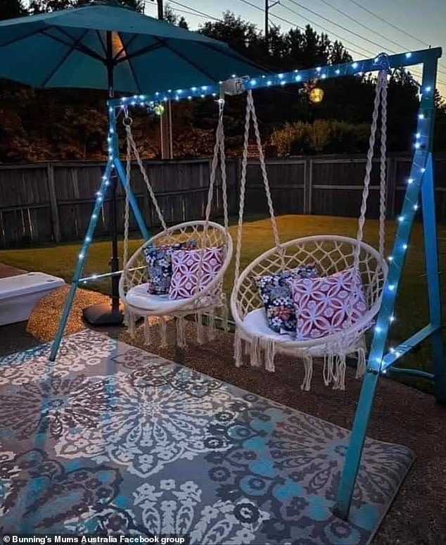 The result looked like a boho backyard retreat, perfect for lazy afternoon swinging and relaxing chats underneath the setting sun