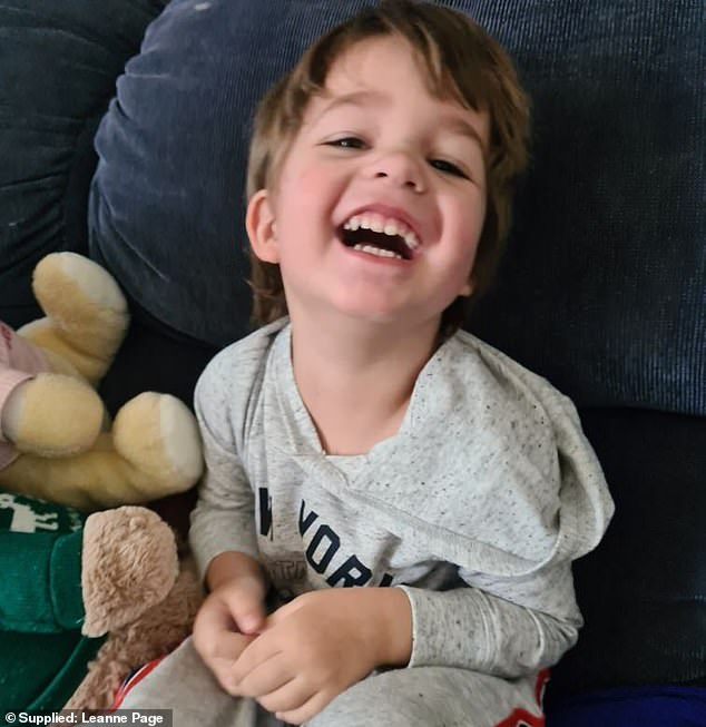 Leanne Page, 40, struggled to get her son Tyler (pictured), three to eat until she found Keith Foods' Mini Dagwood Dogs