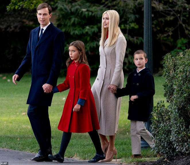 Earlier in the afternoon, Jared and Ivanka were photographed walking along the White House lawn with Arabella and Joseph before they flew out of the nation's capitol bound for Pittsburgh
