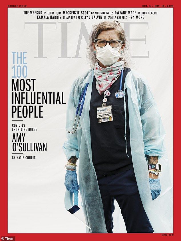 Amy O'Sullivan, a 18-year veteran ER nurse at Wyckoff hospital in Brooklyn, made the list as a representation of all front-line workers who have risked their lives during the pandemic