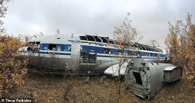 Soviet leader Nikita Khrushchev's historic personal plane (pictured), atwin-engine Ilyushin Il-14P, has been found rotting in an aircraft graveyard in the Arctic