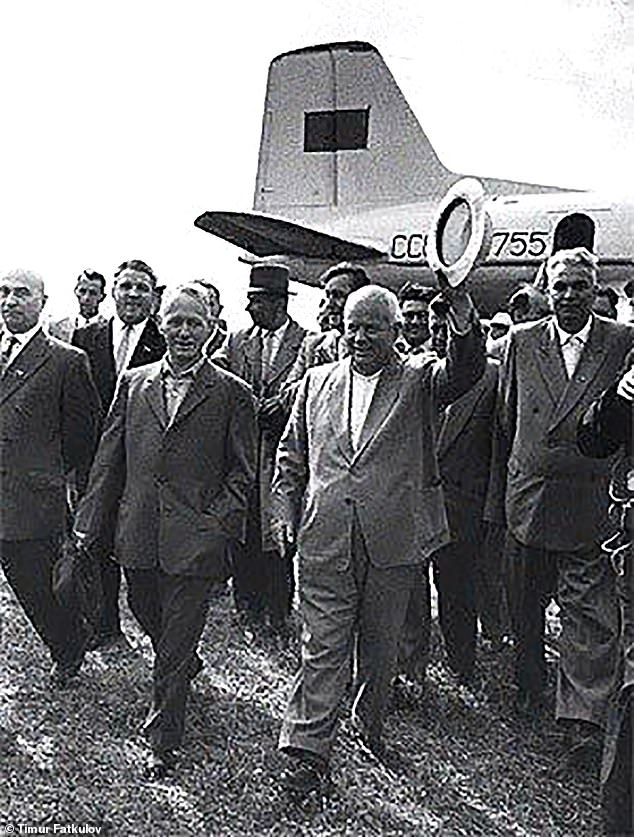 An undated picture shows Cold War tsar Khrushchev with the plane in the late 1950s which was fitted with a VIP cabin for his use