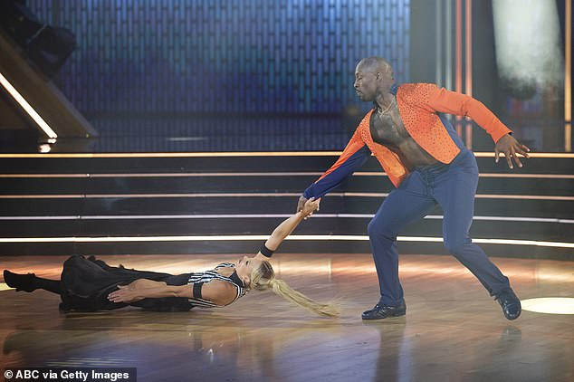 Paso doble:NFL star Vernon Davis, 36, received 18 points for his athletic paso doble to Rihanna and Calvin Harris' We Found Love, danced with Peta Murgatroyd, 34