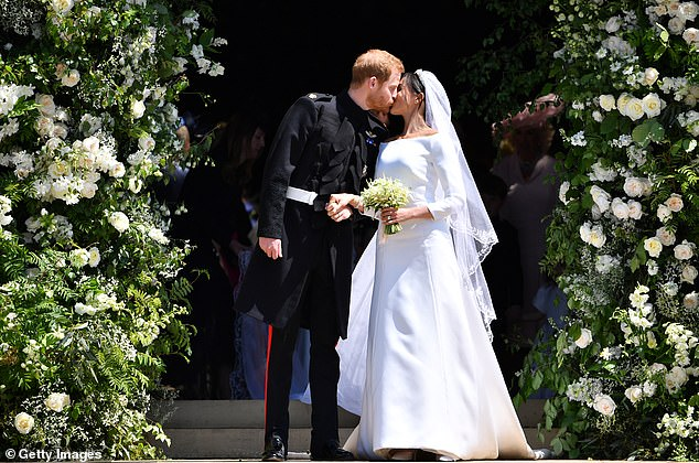 Bishop Michael Curry said the Queen was 'most gracious' about the inclusion of a hymn sung by slaves being included in Harry and Meghan's (pictured) ceremony