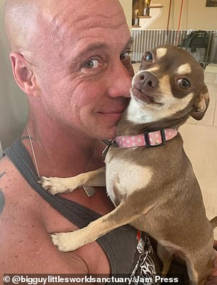 Helping hand: The former bodybuilder had lost the will to live when a close friend stepped in and asked him to care for her son's dog Lady, who he formed an immediate bond with