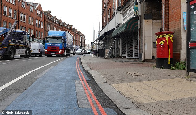The new lane was implemented in a bid to encourage people to cycle to work by giving them more space