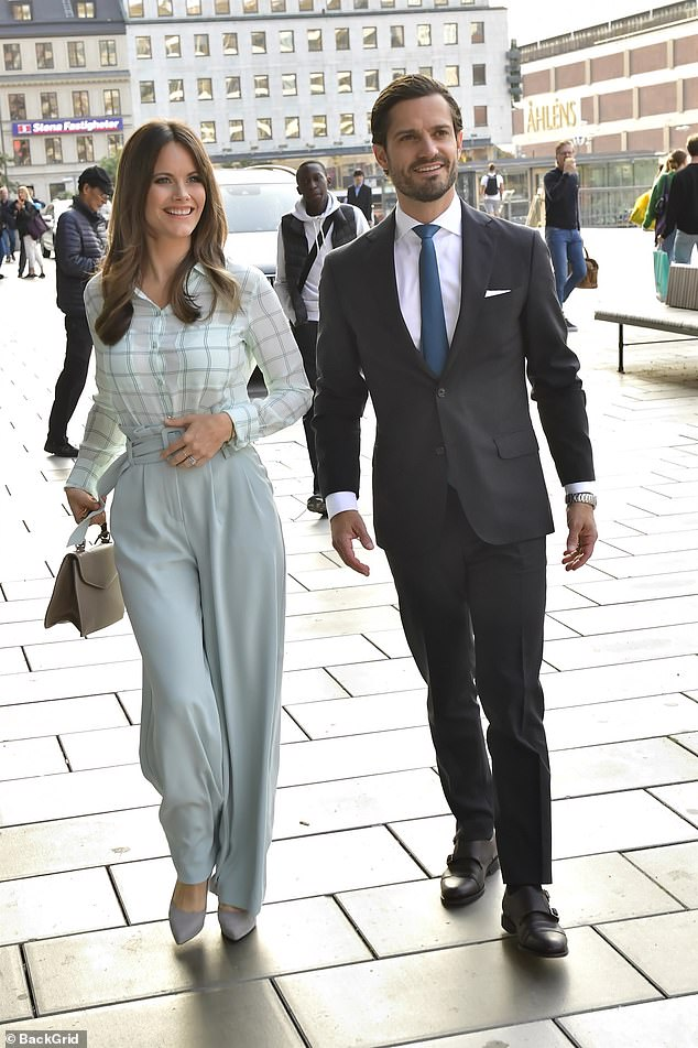 Princess Sofia and Prince Carl Philip of Sweden looked loved up this evening as they attended the preview of a theatre performance in Stockholm