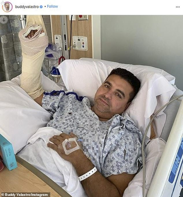 After surgeries: Cake Boss star Buddy Valastro injured his right hand so badly he has had to endure two surgeries. And now the 43-year-old TV standout will be spending the next few months in recovery as he tries to regain use of his hand; seen in the hospital
